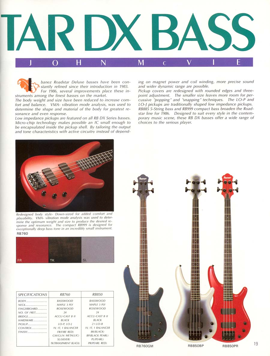 News Sources  >> Ibanez Rules 1986 US Catalog